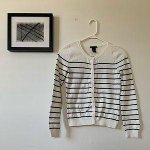 H&M Cardigan Sweater White w/Black Stripes XS